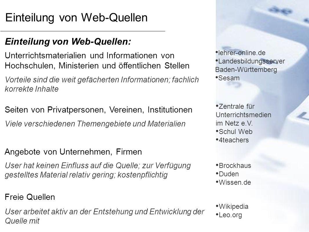 Einteilung von Web-Quellen