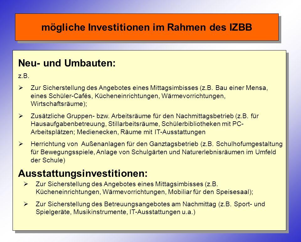 mögliche Investitionen im Rahmen des IZBB