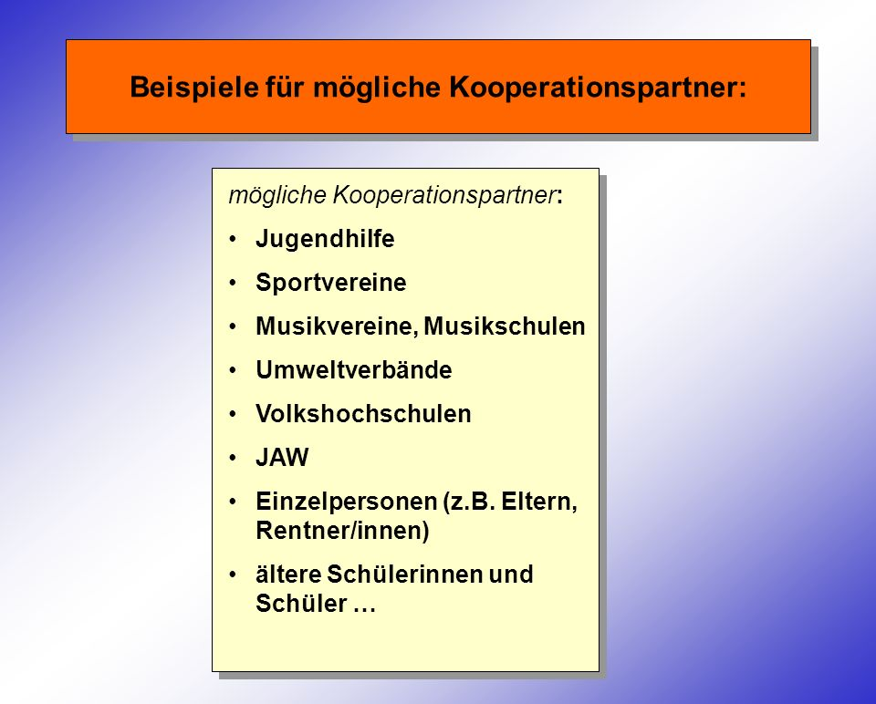 Beispiele für mögliche Kooperationspartner: