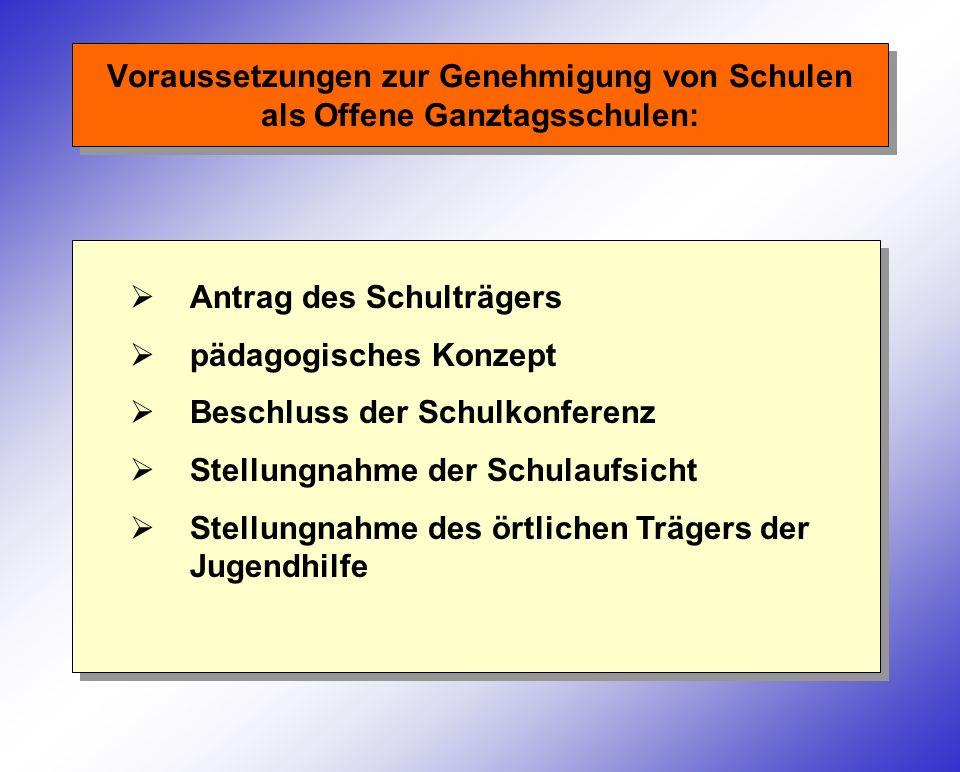 Voraussetzungen zur Genehmigung von Schulen als Offene Ganztagsschulen: