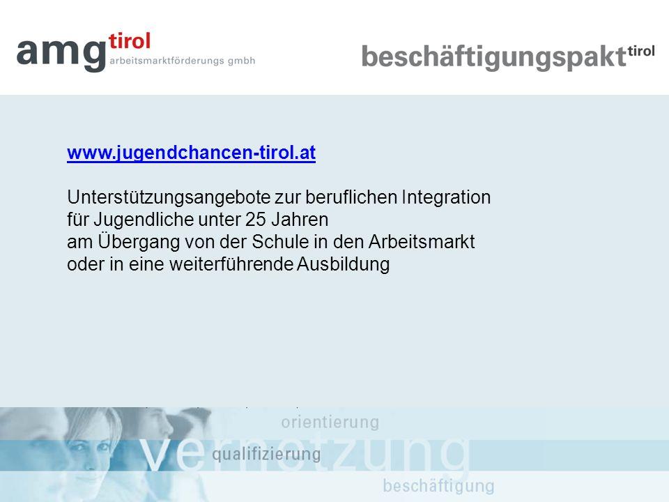 www.jugendchancen-tirol.at Unterstützungsangebote zur beruflichen Integration. für Jugendliche unter 25 Jahren.