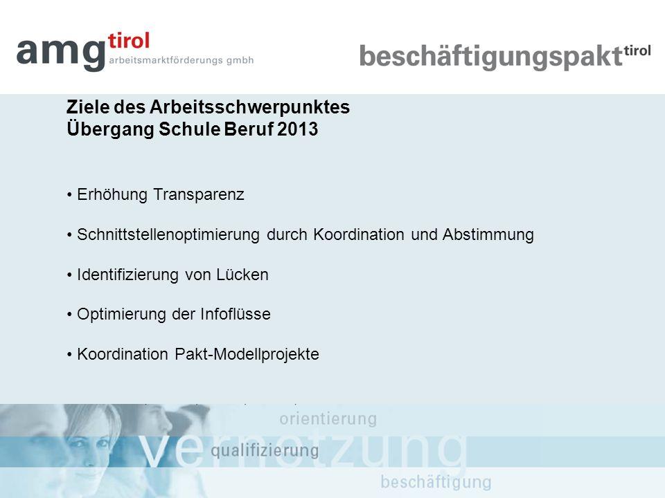 Ziele des Arbeitsschwerpunktes Übergang Schule Beruf 2013
