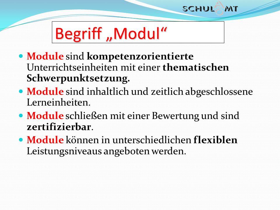 """Begriff """"Modul Module sind kompetenzorientierte Unterrichtseinheiten mit einer thematischen Schwerpunktsetzung."""
