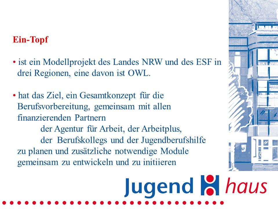 Ein-Topf ist ein Modellprojekt des Landes NRW und des ESF in. drei Regionen, eine davon ist OWL. hat das Ziel, ein Gesamtkonzept für die.