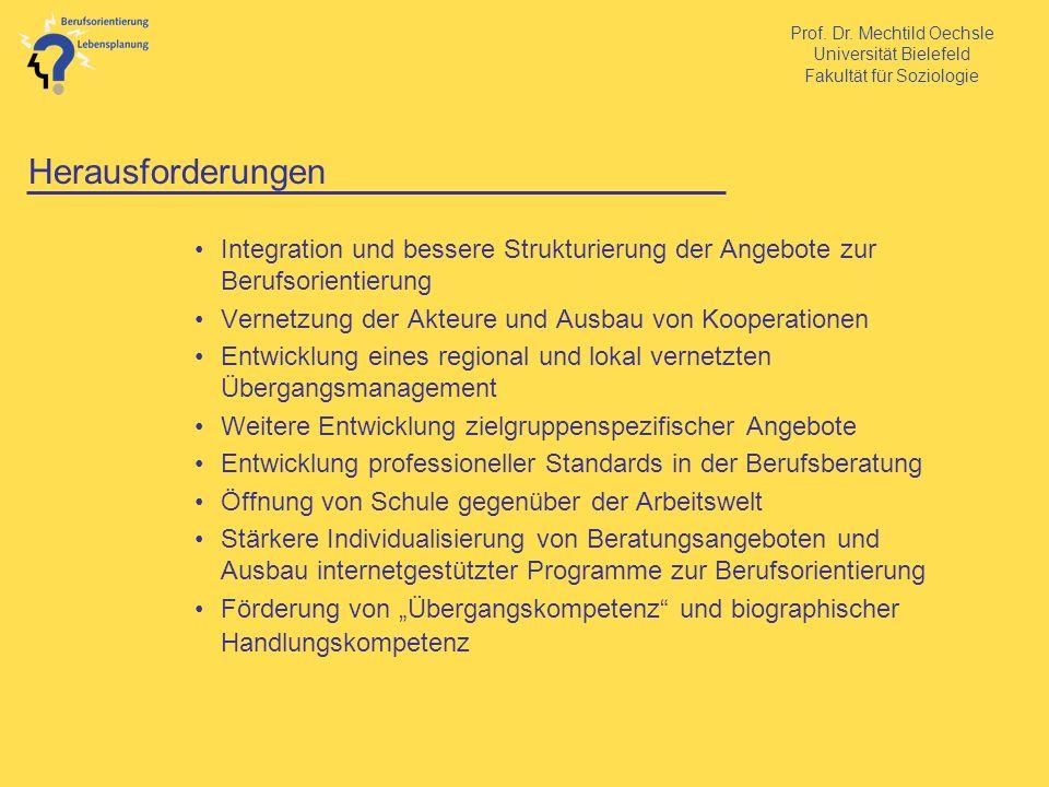 Herausforderungen Integration und bessere Strukturierung der Angebote zur Berufsorientierung. Vernetzung der Akteure und Ausbau von Kooperationen.