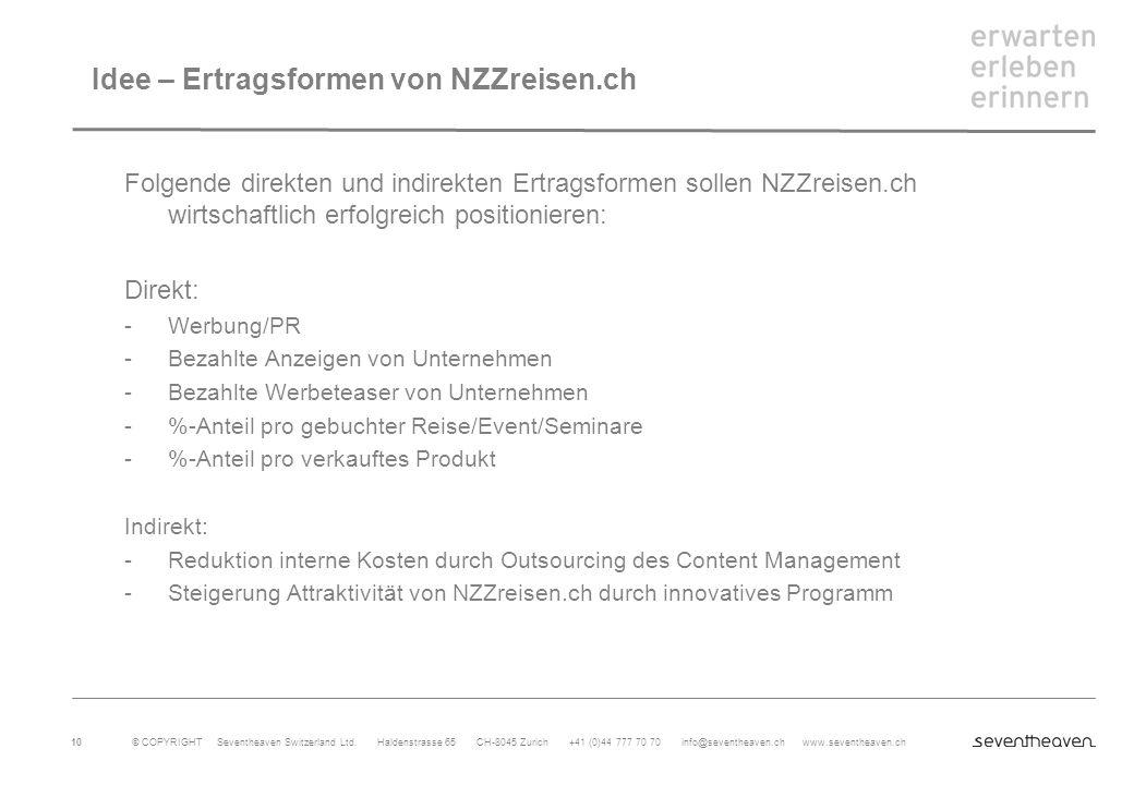 Idee – Ertragsformen von NZZreisen.ch