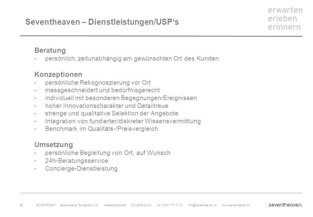 Seventheaven – Dienstleistungen/USP's