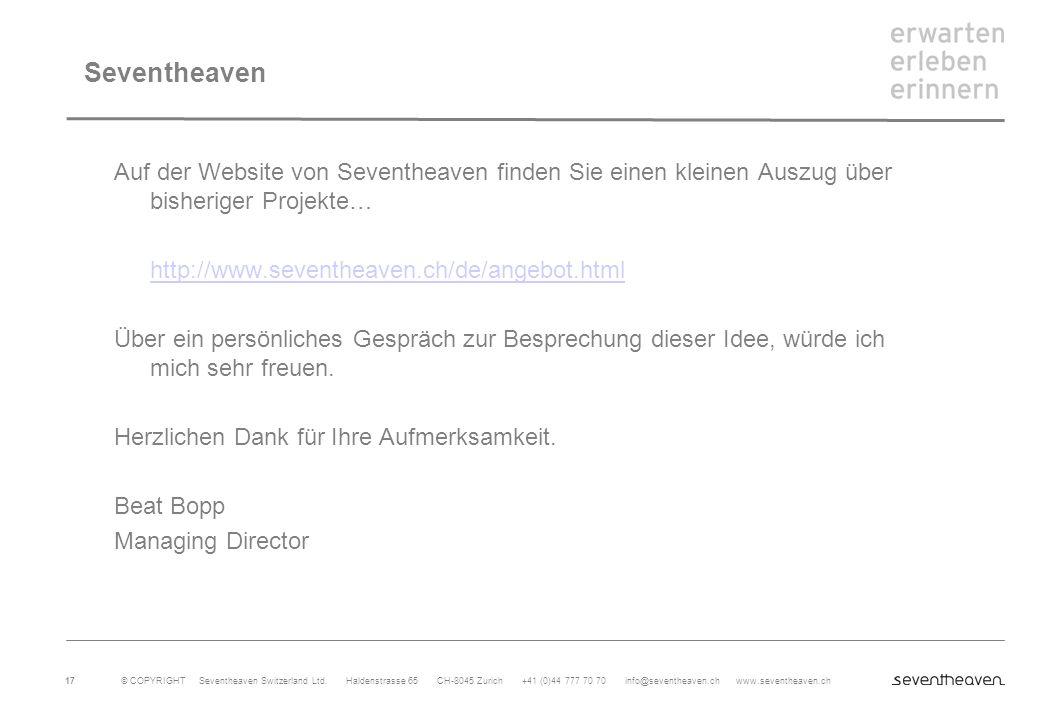 Seventheaven Auf der Website von Seventheaven finden Sie einen kleinen Auszug über bisheriger Projekte…