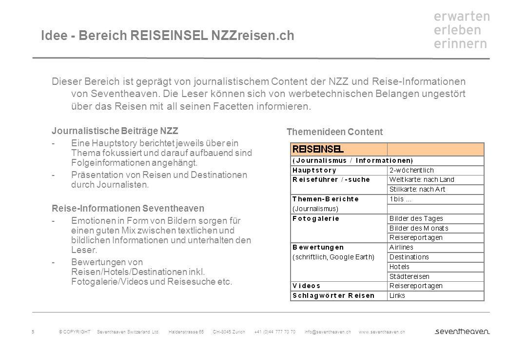 Idee - Bereich REISEINSEL NZZreisen.ch