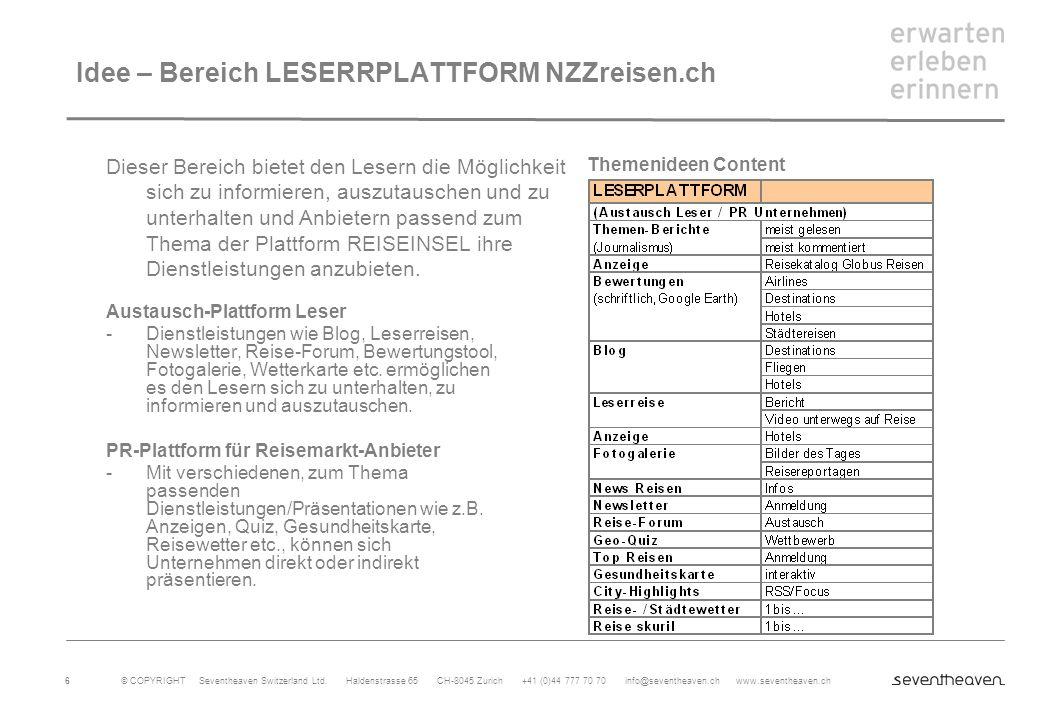 Idee – Bereich LESERRPLATTFORM NZZreisen.ch