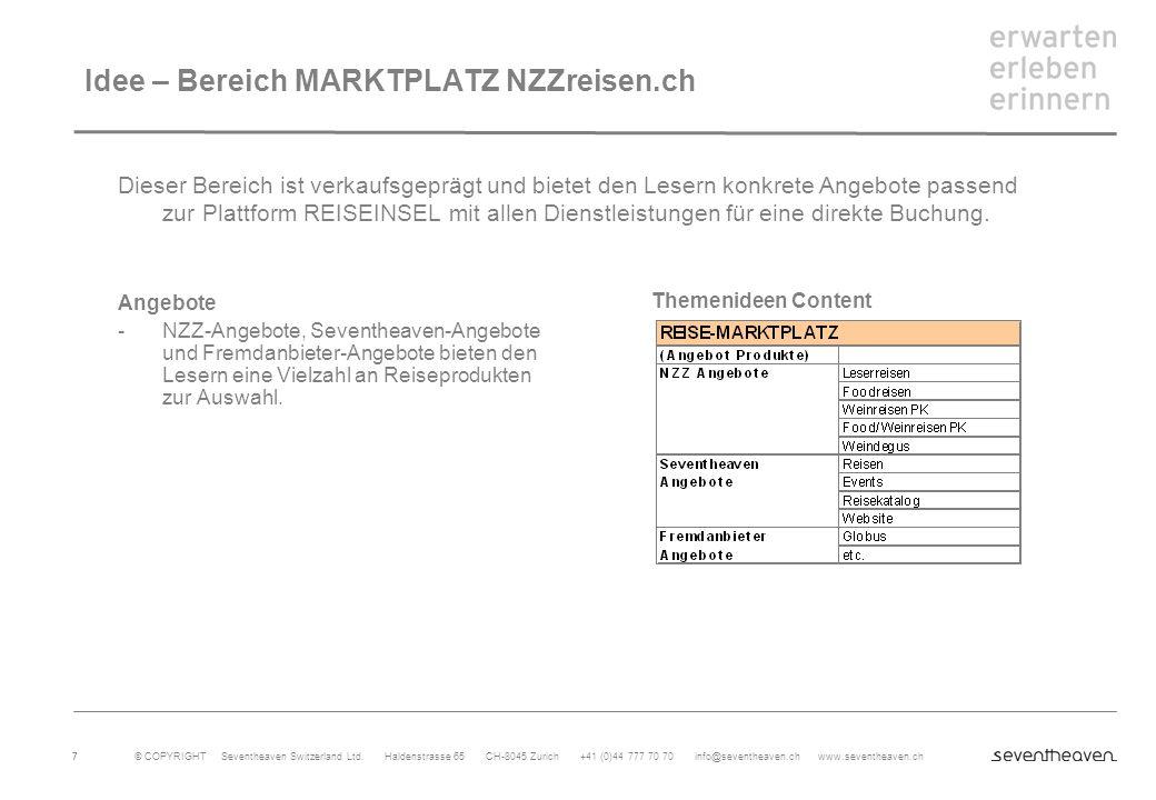 Idee – Bereich MARKTPLATZ NZZreisen.ch