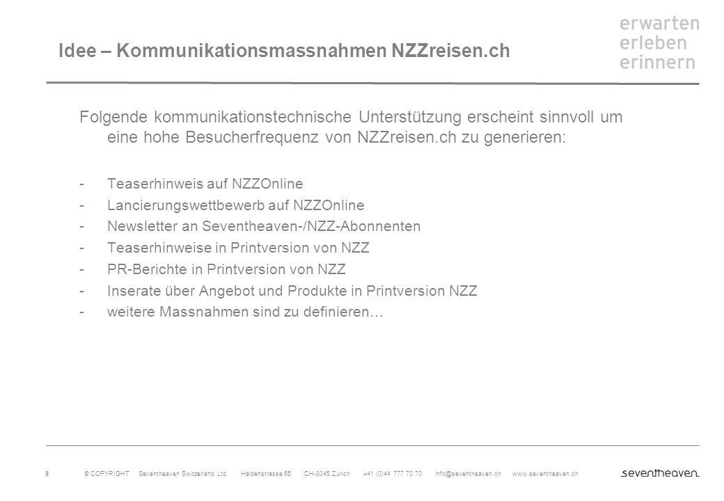 Idee – Kommunikationsmassnahmen NZZreisen.ch