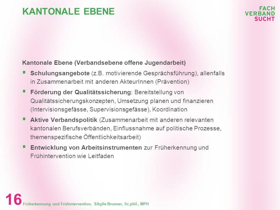 KANTONALE EBENE Kantonale Ebene (Verbandsebene offene Jugendarbeit)