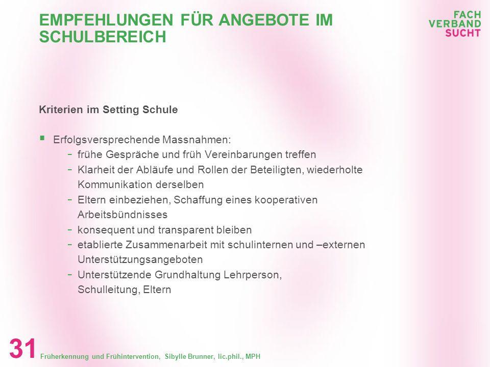 EMPFEHLUNGEN FÜR ANGEBOTE IM SCHULBEREICH