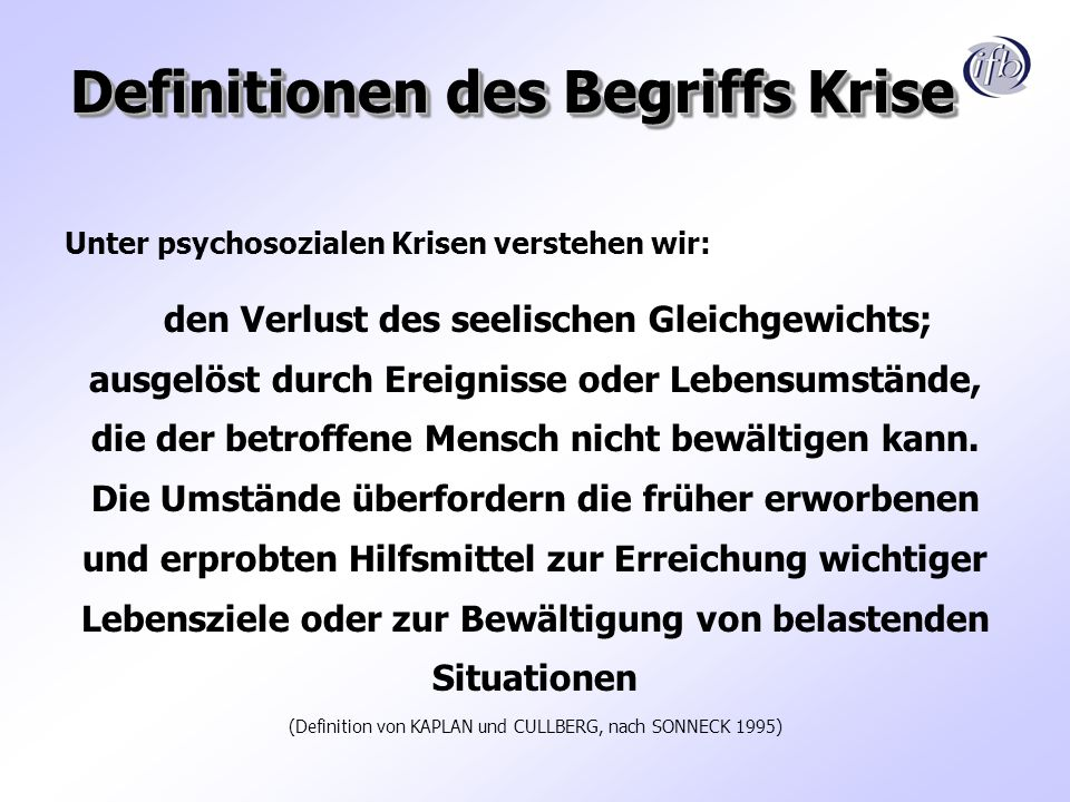 Definitionen des Begriffs Krise