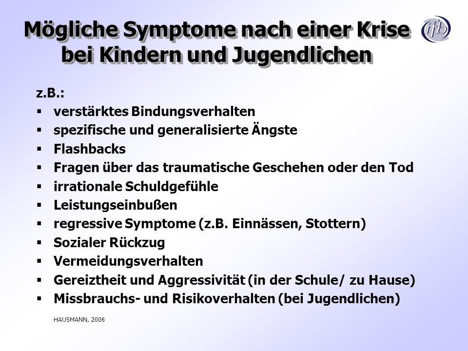 Mögliche Symptome nach einer Krise bei Kindern und Jugendlichen