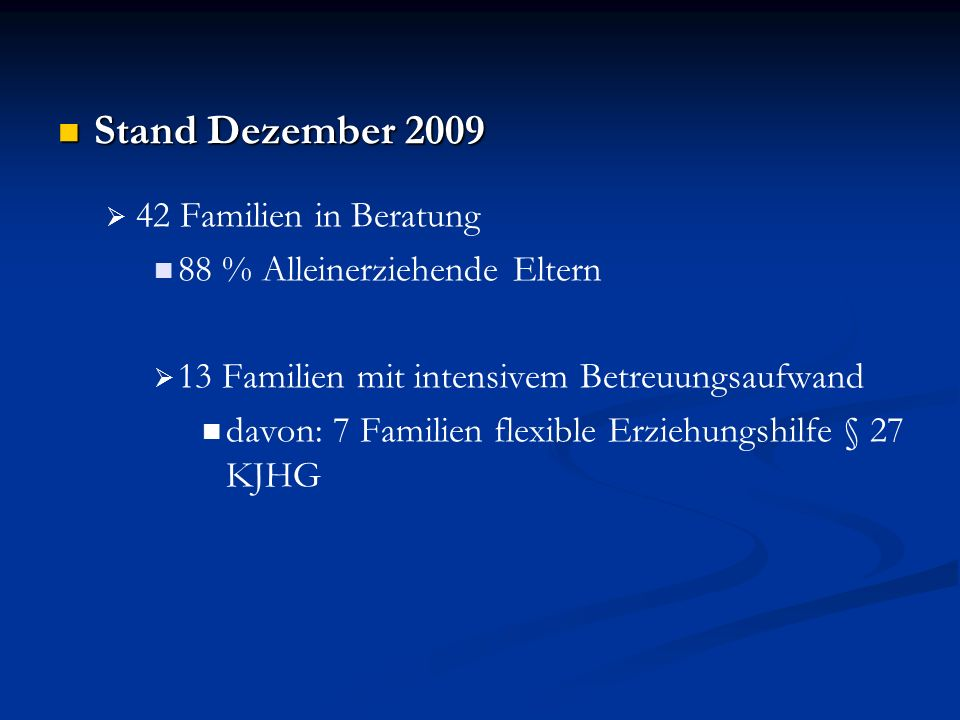 Stand Dezember 2009 42 Familien in Beratung