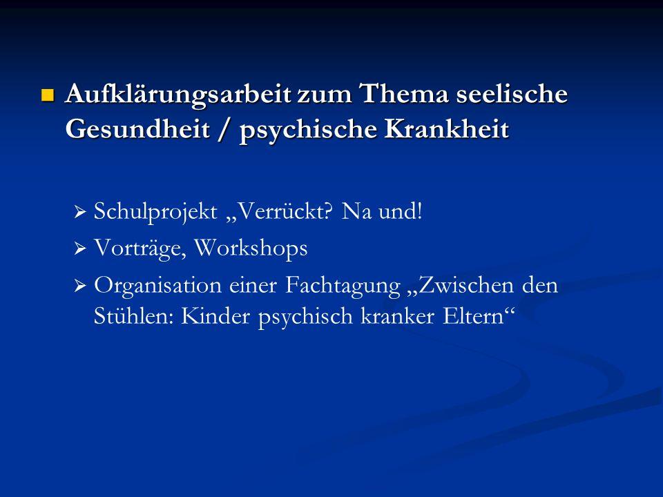 Aufklärungsarbeit zum Thema seelische Gesundheit / psychische Krankheit