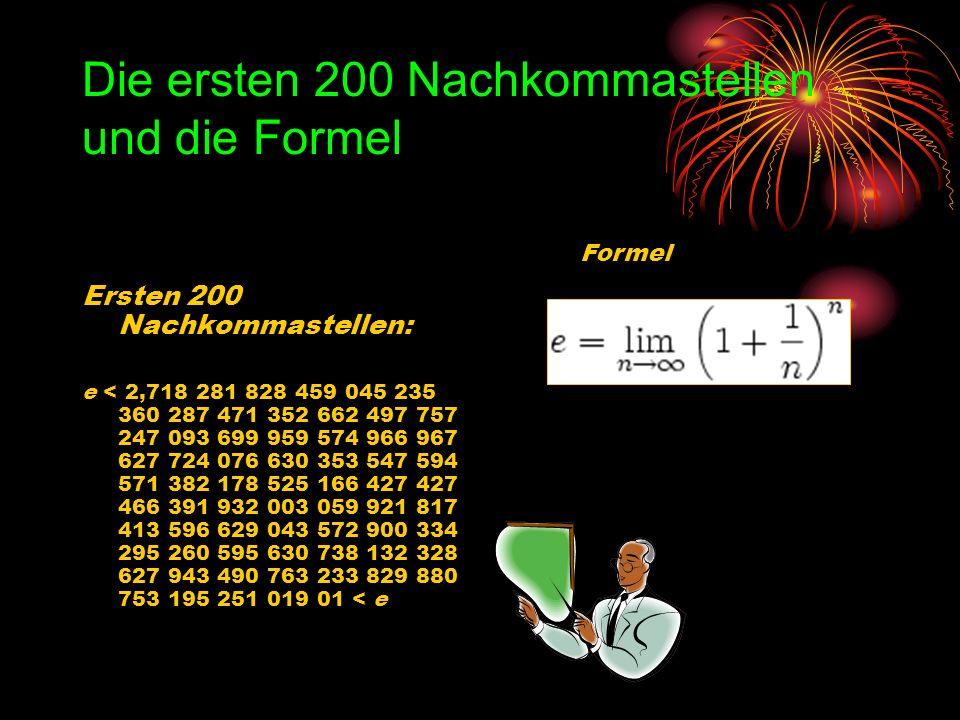 Die ersten 200 Nachkommastellen und die Formel