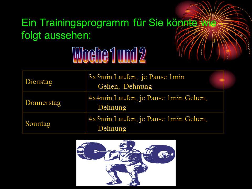 Ein Trainingsprogramm für Sie könnte wie folgt aussehen: