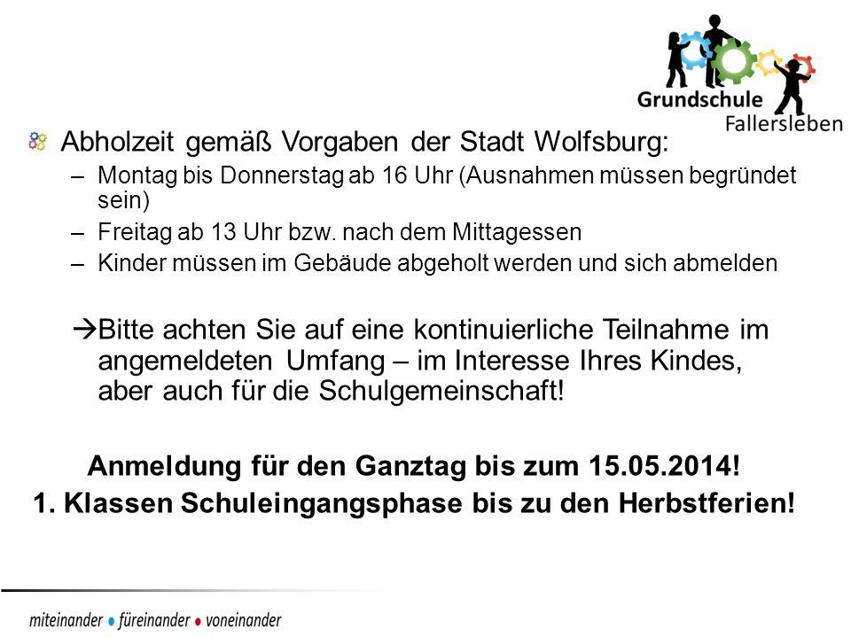 Abholzeit gemäß Vorgaben der Stadt Wolfsburg: