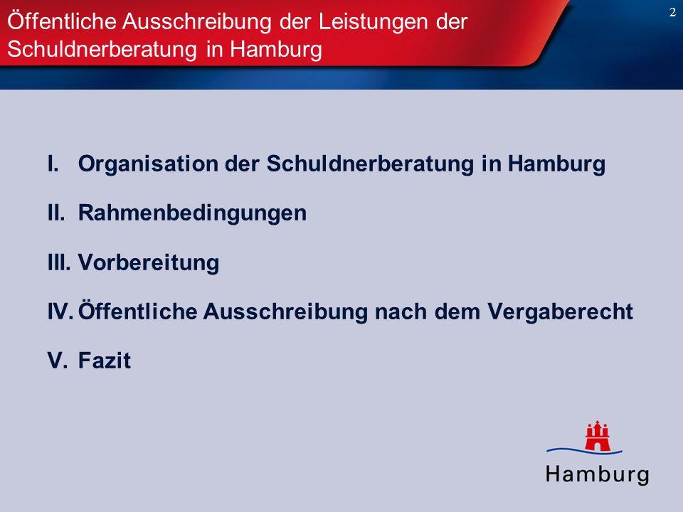 Öffentliche Ausschreibung der Leistungen der Schuldnerberatung in Hamburg