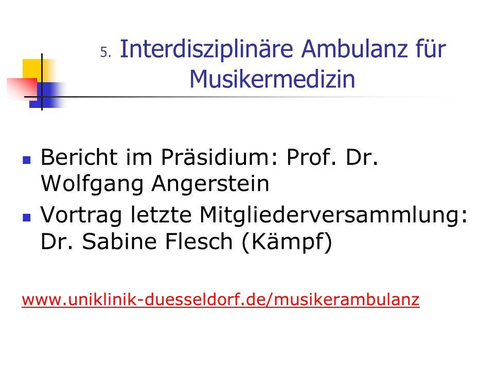 5. Interdisziplinäre Ambulanz für Musikermedizin