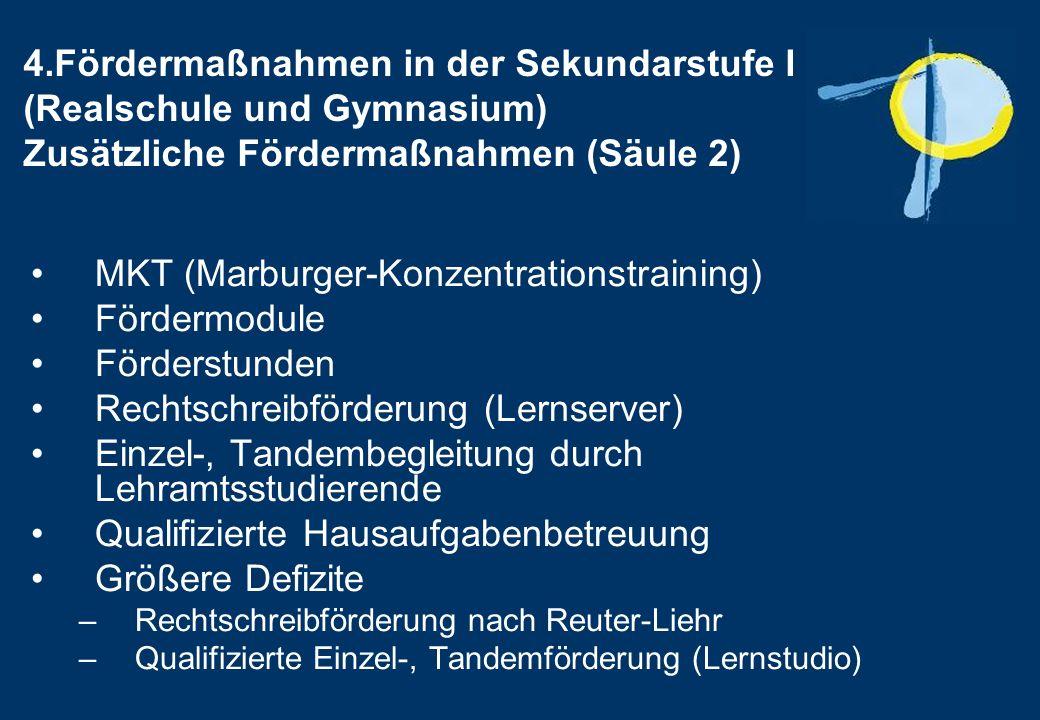 MKT (Marburger-Konzentrationstraining) Fördermodule Förderstunden