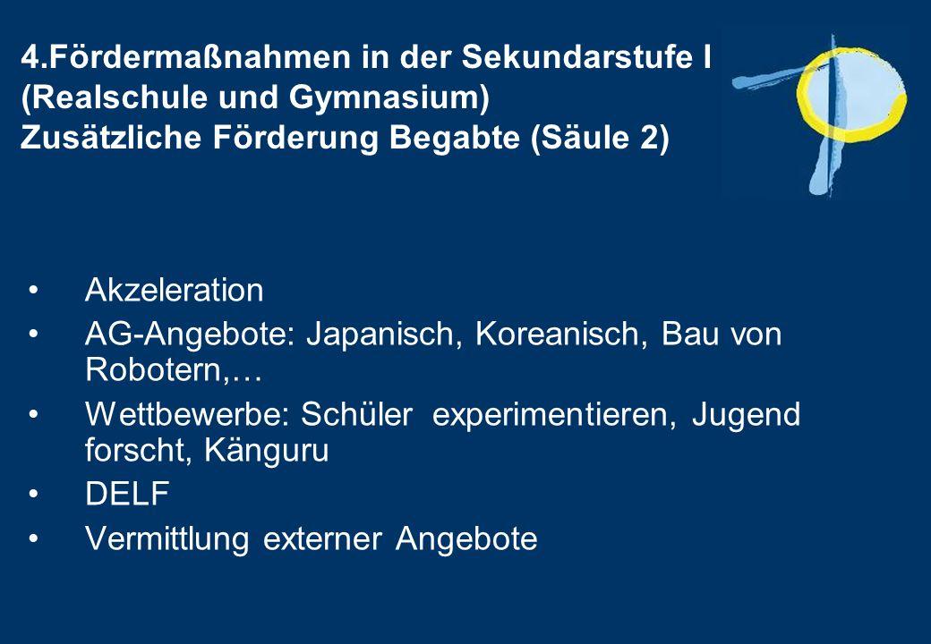 4.Fördermaßnahmen in der Sekundarstufe I (Realschule und Gymnasium) Zusätzliche Förderung Begabte (Säule 2)