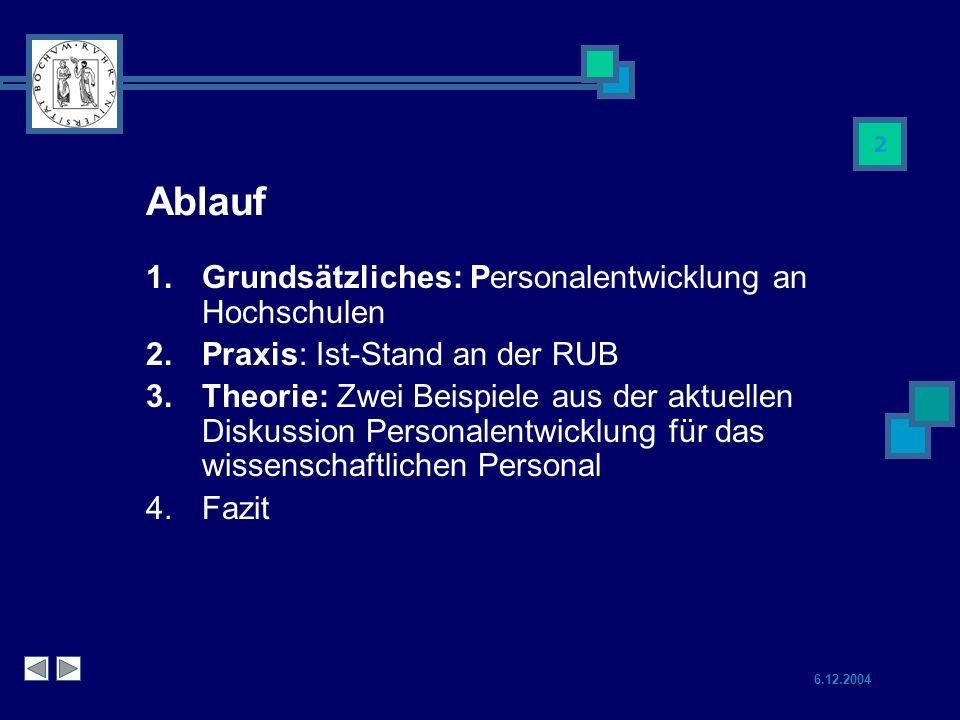 Ablauf Grundsätzliches: Personalentwicklung an Hochschulen