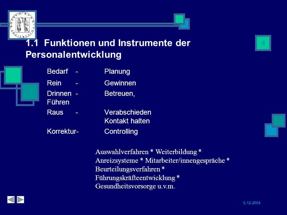 1.1 Funktionen und Instrumente der Personalentwicklung