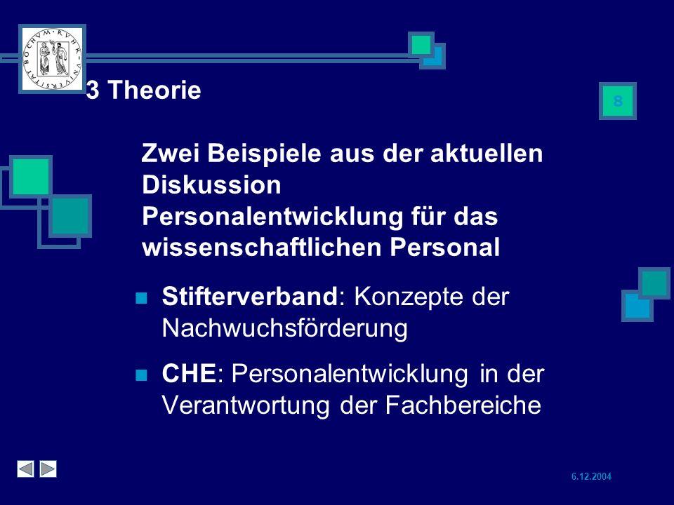 3 Theorie Zwei Beispiele aus der aktuellen Diskussion Personalentwicklung für das wissenschaftlichen Personal