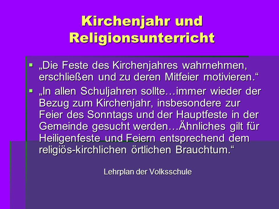 Kirchenjahr und Religionsunterricht