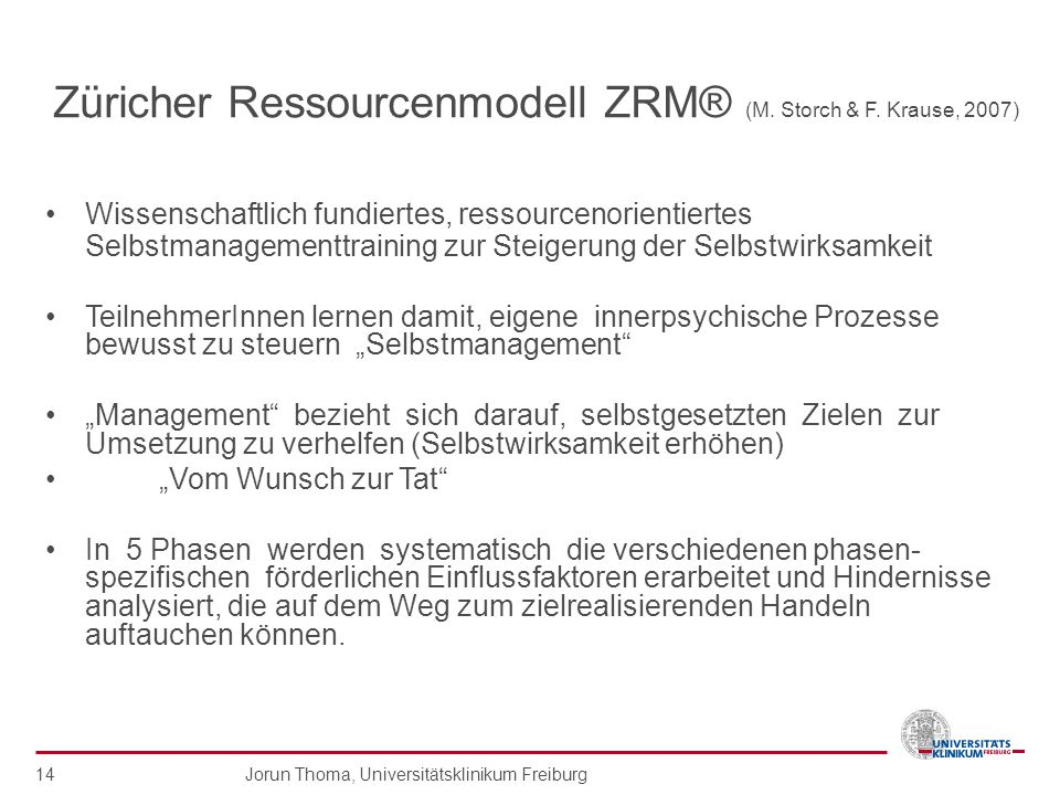Züricher Ressourcenmodell ZRM® (M. Storch & F. Krause, 2007)
