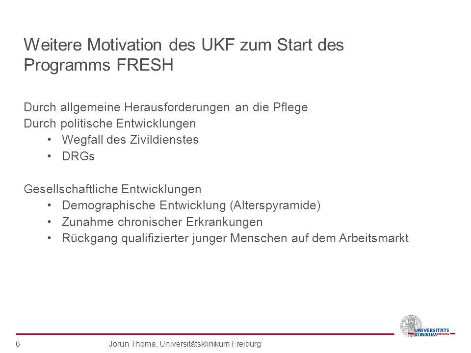 Weitere Motivation des UKF zum Start des Programms FRESH
