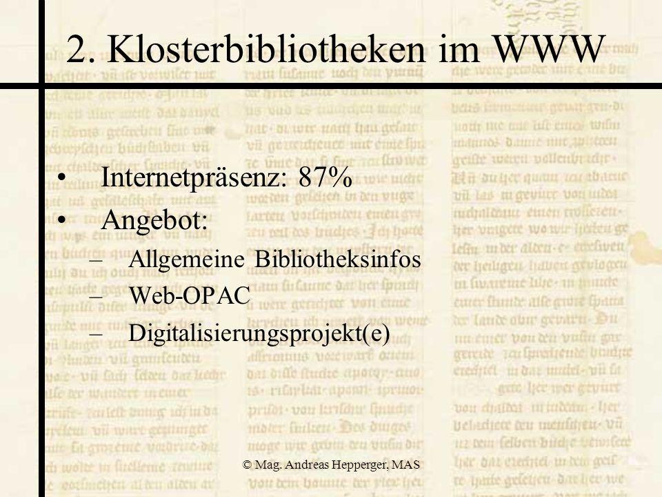 2. Klosterbibliotheken im WWW
