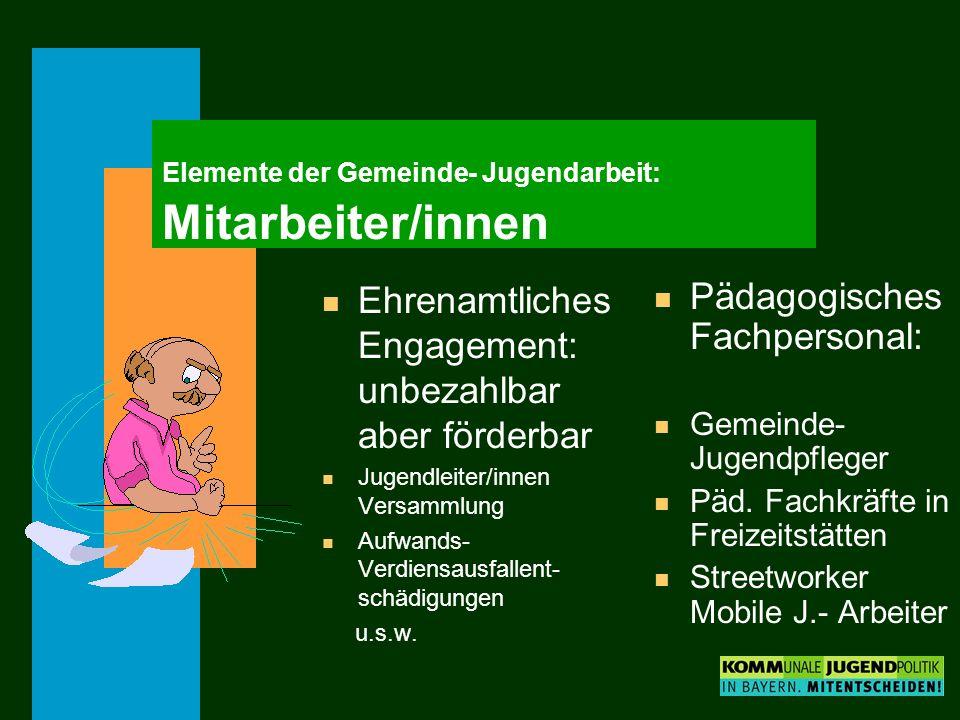 Elemente der Gemeinde- Jugendarbeit: Mitarbeiter/innen