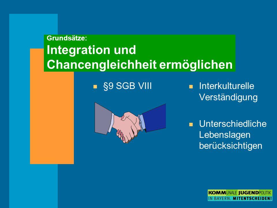 Grundsätze: Integration und Chancengleichheit ermöglichen