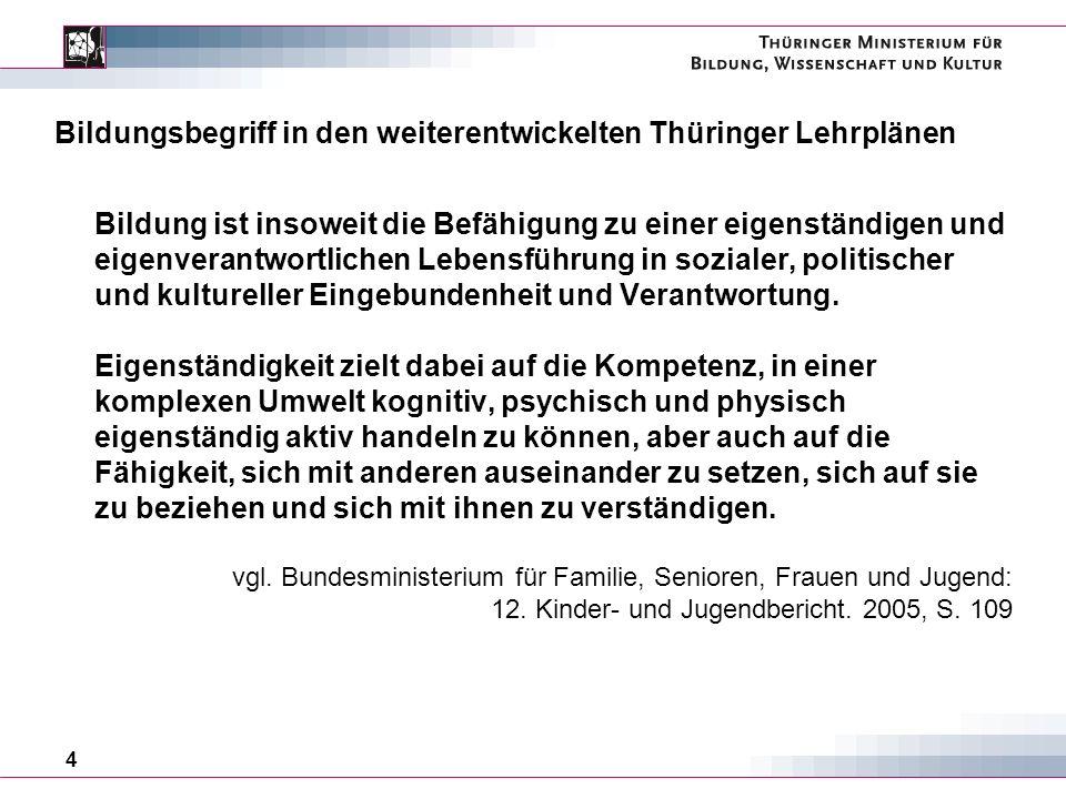 Bildungsbegriff in den weiterentwickelten Thüringer Lehrplänen