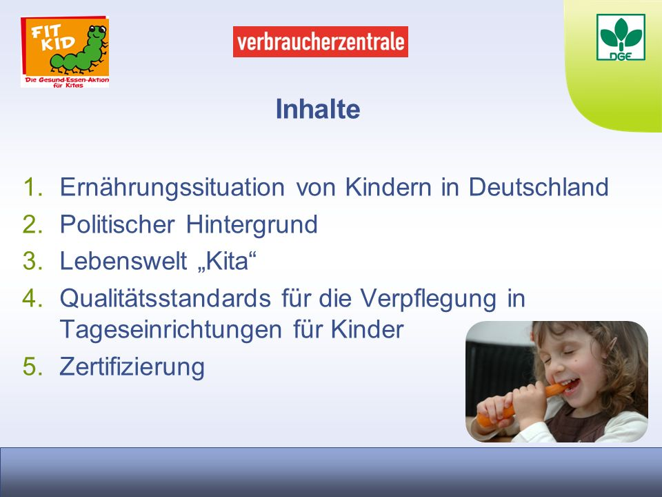 Inhalte Ernährungssituation von Kindern in Deutschland