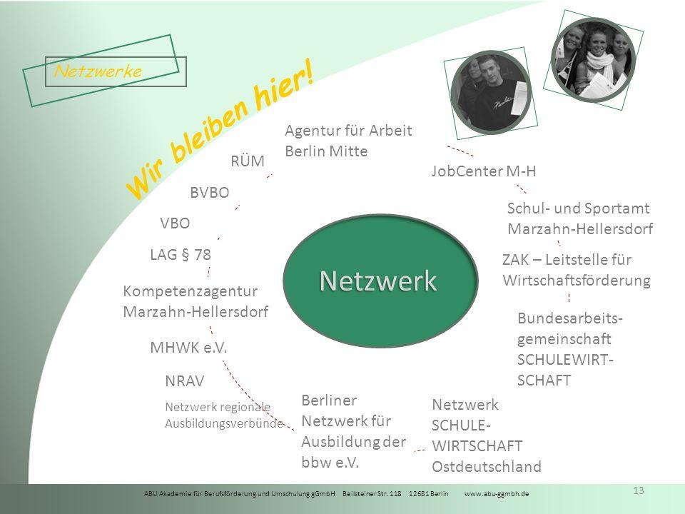 Netzwerk Netzwerke Agentur für Arbeit Berlin Mitte RÜM JobCenter M-H