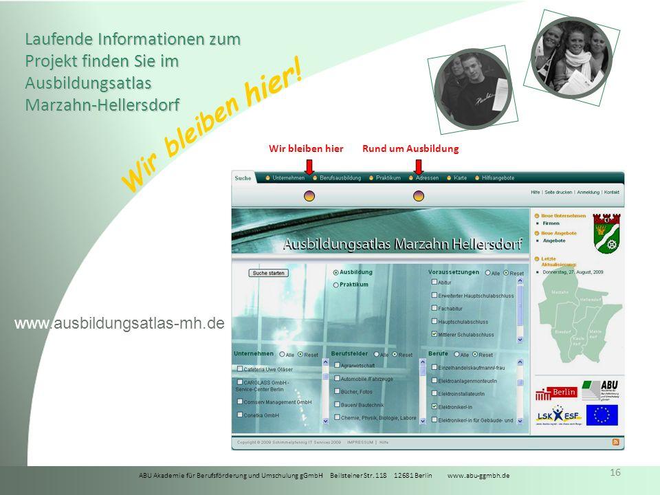 Laufende Informationen zum Projekt finden Sie im Ausbildungsatlas Marzahn-Hellersdorf