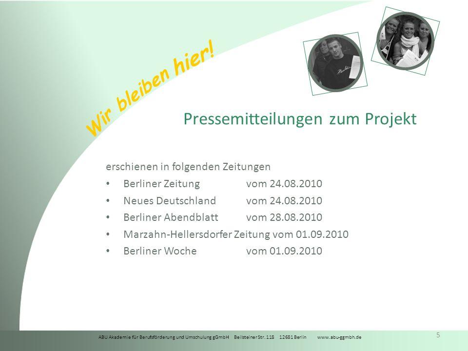Pressemitteilungen zum Projekt