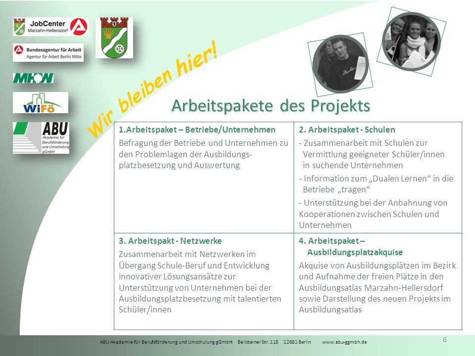 Arbeitspakete des Projekts