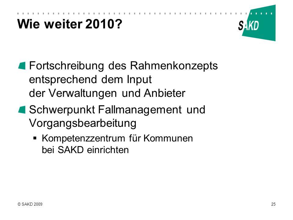 Wie weiter 2010 Fortschreibung des Rahmenkonzepts entsprechend dem Input der Verwaltungen und Anbieter.