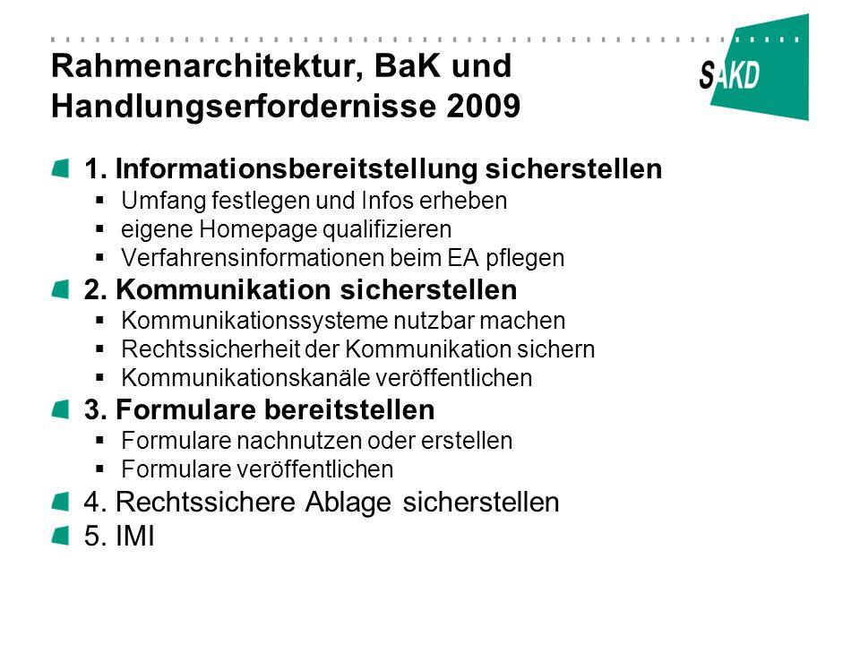 Rahmenarchitektur, BaK und Handlungserfordernisse 2009