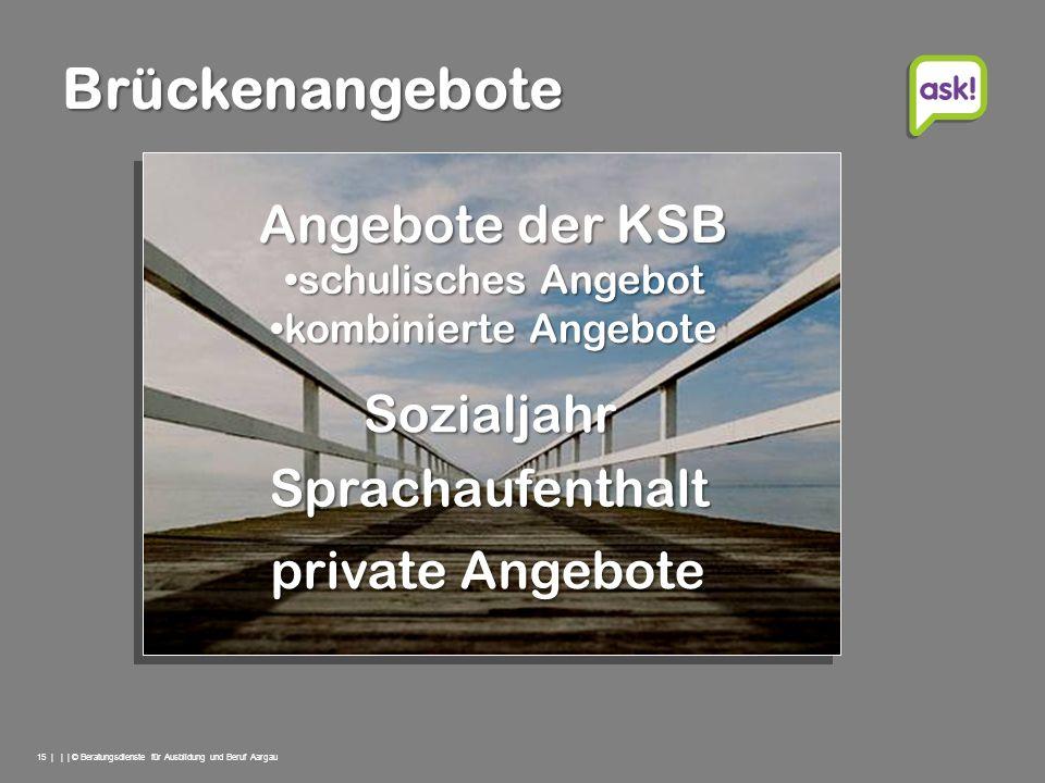 Brückenangebote Angebote der KSB Sozialjahr Sprachaufenthalt