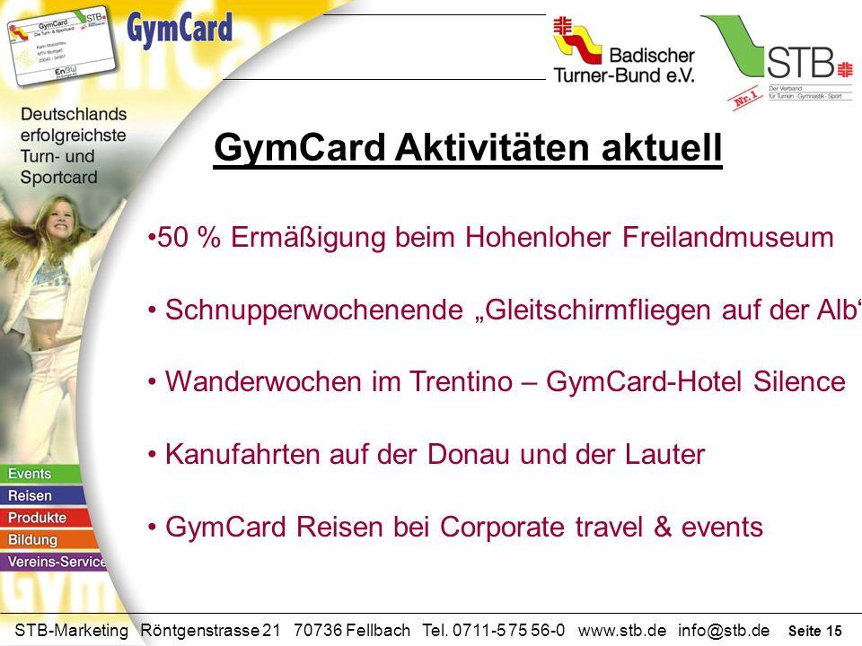 GymCard Aktivitäten aktuell