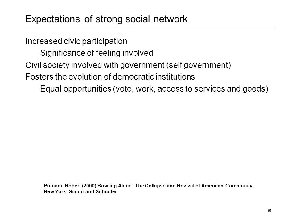 Expectations of strong social network