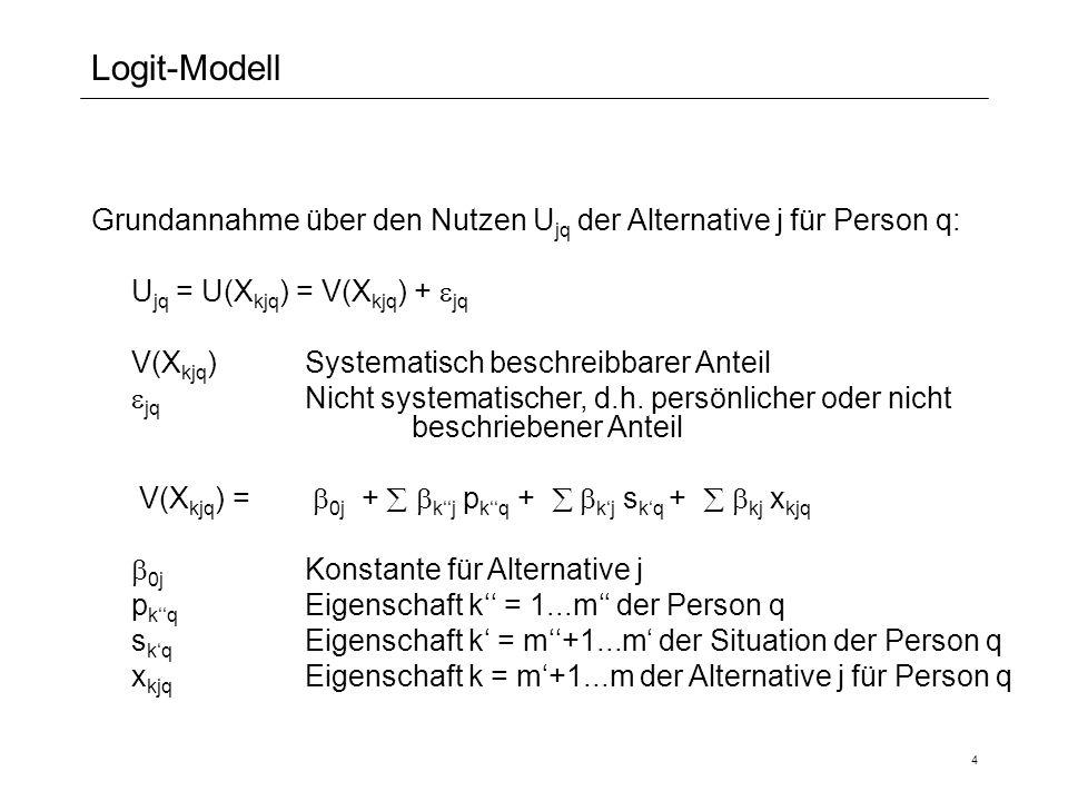 Logit-Modell Grundannahme über den Nutzen Ujq der Alternative j für Person q: Ujq = U(Xkjq) = V(Xkjq) + jq.